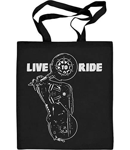 Shirtgeil Cooles Motorrad Design mit kultigem Spruch Live To Ride Jutebeutel Baumwolltasche One Size Schwarz