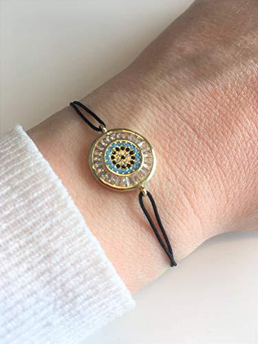 KAAYAH Marrakesch Bracelet - Damen-Armband mit verstellbarem Textilband mit goldenem funkelndem Glitzer-Charm, Mandala, Blume, Freundschafts-Armband