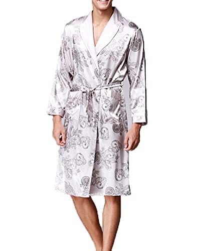 Albornoz Elegante para Hombre, Kimono De Seda, Bata De Manga Larga, Pijama con Estampado, Bata para Hombre, Albornoz para Hombre, Ropa para El Hogar