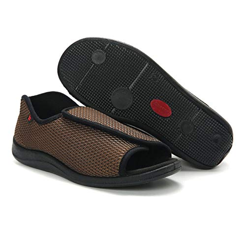 LNLJ Zapatos terapéuticos para artritis, edema y pies engrasados, tejido de malla anchos, zapatos ajustables con velcro, color marrón 42, unisex para adultos