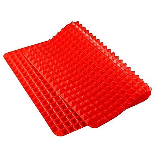 Silikon Backmatte, Pfanne Ofen Tablett Backblech Gebäck Kochmatte BBQ Grill Matte mit Pyramiden Struktur, Nicht Haftend, Fett Reduzierend