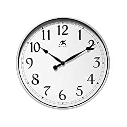 Infinity Instruments Silver Large Office Clock 18 inch Wall Clock Wall Clock for Office, Home, Business, Warehouse, Large Easy-to-Read Wall Clock 18 inch Quartz Movement Silver Wall Clock for Office