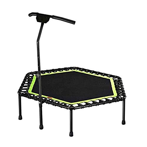 N / A Hexagonal Fitness Trampoline, 53.5 Inch Professional Stretch Foldable Trampoline, Home Fitness Equipment with Handles, for Indoor/Gym/Adult Training