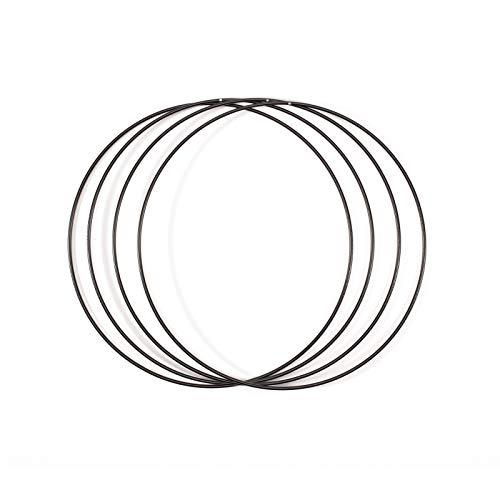 Vaessen Creative Metallring 4 Stück, Schwarz, Spannring Ø25 cm aus 3 mm Metalldraht zum Traumfänger Basteln, Makramee Knoten, Mandala Häkeln sowie Gestalten weiterer Wanddeko und Fensterdeko