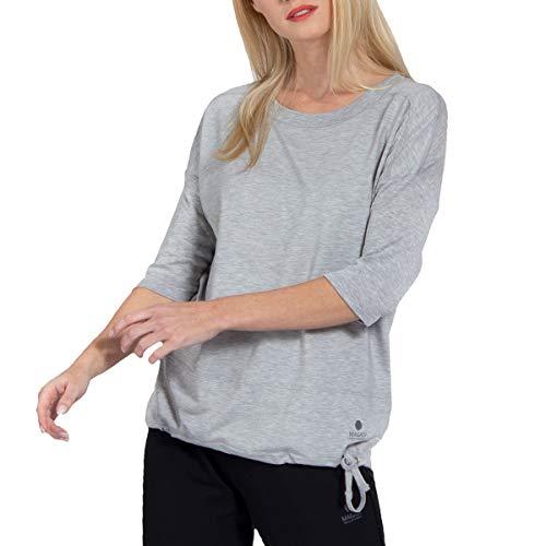 Magadi Yoga-Shirt Sara Grey für Damen aus Bio-Baumwolle, Damen Sport Oberteil für Yoga, Pilates, Gym, nachhaltig und fair
