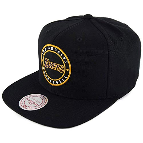 Mitchell & Ness Los Angeles Lakers Circle Patch Team Snapback Cap, black