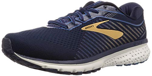 Brooks Men's Ghost 12, Navy/Gold, 12 EE