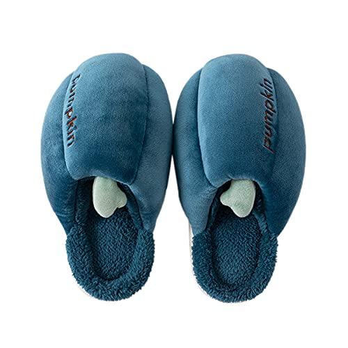 Briskorry Pantuflas de piel con forma de calabaza para mujer, pantuflas de invierno forradas, cálidas zapatillas de piel para casa, pantuflas de cabaña, antideslizantes, para niñas