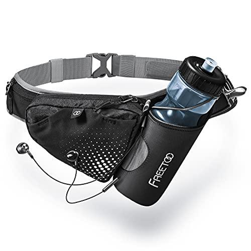 FREETOO Hüfttasche Trinkgürtel Laufgürtel mit Trinkflasche Verstellbar Bauchtasche Gürteltasche mit Stabile Flaschenhalter Trinkgürtel für Jogging Outdoor Wandern Camping Radfahren
