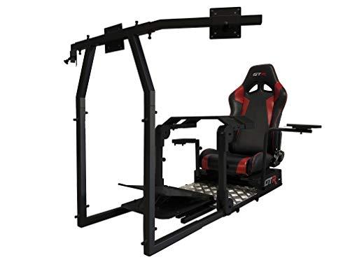 GTR Simulator - Model GTA-Pro Racing Simulator (Black) Home Workstation Racing Cockpit with Real Racing Seat (Black/Red) and Racing Rig Control Mounts for Driving and Flight Simulator Gaming