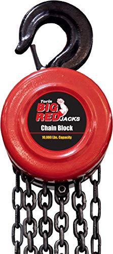 BIG RED TR9050 Torin Manual Hand Lift Steel Chain Block Hoist with 2 Hooks, 5 Ton (10,000 lb) Capacity, Red