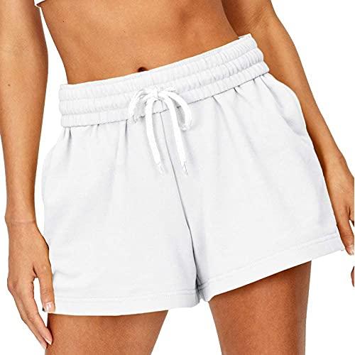 BIBOKAOKE Pantalones cortos para mujer, cómodos, pantalones cortos para verano, piernas anchas, informales, cintura elástica, cordón, monocolor, con bolsillos, pantalones cortos para correr, yoga.