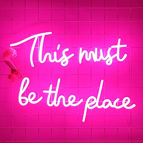 Neon Signs This Must Be The Place for Wall Decor, Pink Neon Lights for Bedroom, Party, Bar, LED Neon...