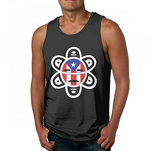 Cool Puerto Rico Flag Sun Tribal Sol Taino Mens Quick-Dry Loose-Fit Crew Tanks Tees