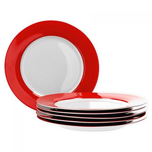Van Well 6er Set Speiseteller Essteller flach Serie Vario Porzellan - Farbe wählbar, Farbe:rot