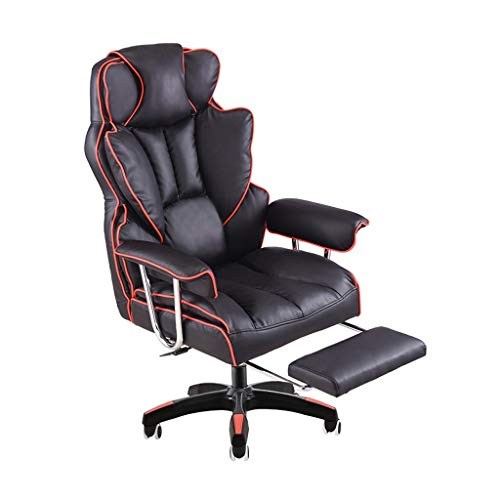 Tmpty Esports Computer Gaming - Silla Giratoria For Sofa, Soporte Ergonomico For La Parte Baja De La Espalda, Reclinable con Reposapies, Negro