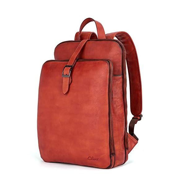 Womens Backpack Purse Vegetable Tanned Full Grain Leather 15.6 Inch Laptop Travel Business Vintage Large Shoulder Bag 1