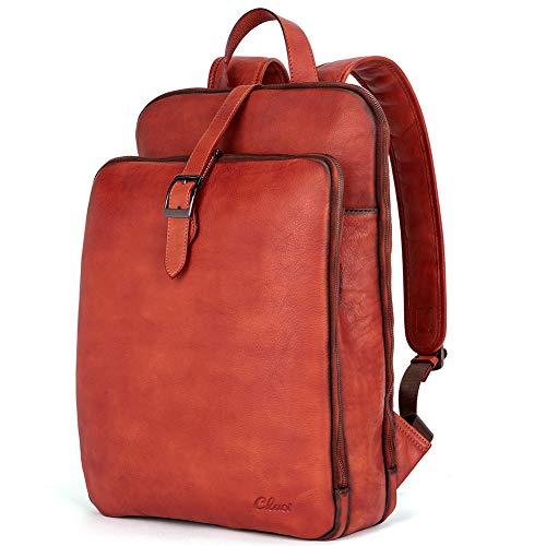 Womens Backpack Purse Vegetable Tanned Full Grain Leather 15.6 Inch Laptop Travel Business Vintage Large Shoulder Bag Reddish Brown