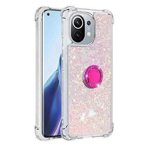 Mi 11 Girly Funda para Xiaomi Mi 11 Diamond Ring Quicksand Caso, a prueba de golpes Bling Soft Bumper Cover (Funciona con soporte para coche) (rosa)