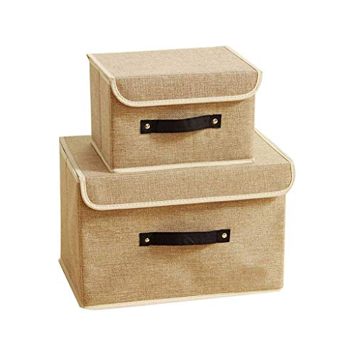 Cajas de almacenamiento Conjunto de 2, tela de algodón Cestas de contenedores de almacenamiento plegables con tapas y asas Manta de ropa de contenedor para libros Juguetes Lavado de lavandería Organiz