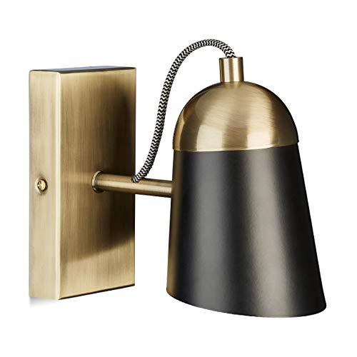 Relaxdays wandlamp, messing in antieke look, zwarte lampenkap, metaal, modern, E14-fitting, h x b 15 x 10 x 20 cm