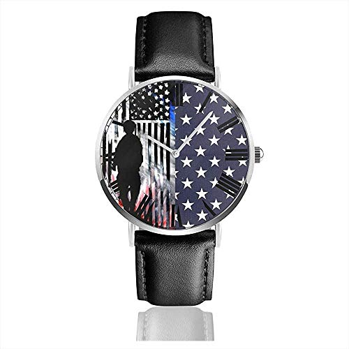 American Pride Flag Men 'sSport Watch PU Leather Band Relojes de Pulsera de Cuarzo Reloj
