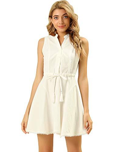 Allegra K Vestido Acampanado con Lazo De Algodón Sin Mangas con Cuello Simulado para Mujer Blanco XS