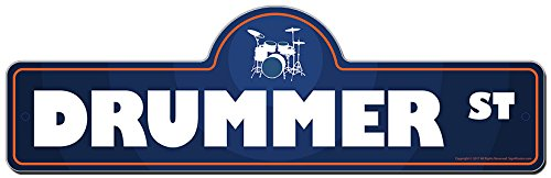 Drummer Street Sign | Indoor/Outdoor | Funny Home D�cor for Garages, Living Rooms, Bedroom, Offices | SignMission Personalized Gift