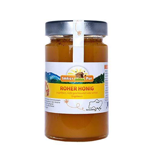 Miel brut cru d'ImkerPur, 400g, non filtré, ni extrait ni chauffé, contient du pollen de fleurs, de la cire d'abeilles, du propolis, du pain d'abeille et de la gelée royale
