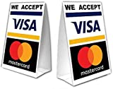 We Accept Credit Cards Table Tent with UV Coating - MasterCard and Visa - 2 Pack