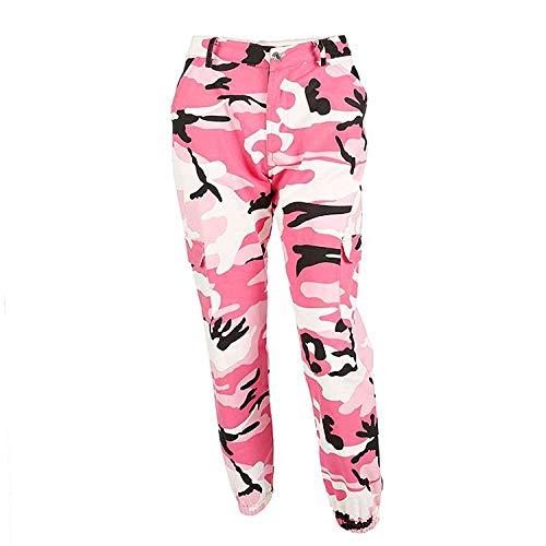 ORANDESIGNE Damen Camouflage Hose Mädchen Hip Hop Jogger Trainingshose Casual Sport Camo Cargo Hosen Hellrosa EU Large