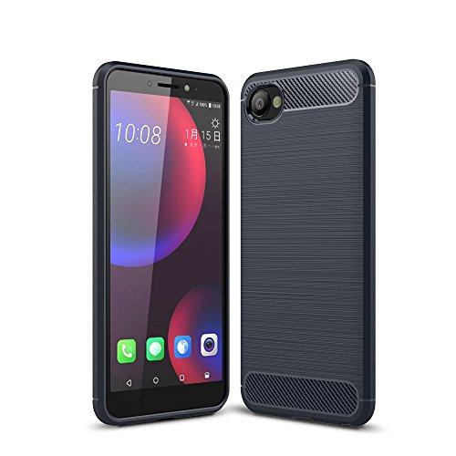 König Design Handy-Hülle kompatibel mit HTC Desire 12 Silikon Hülle Hülle Sturzsichere Back-Cover Handyhülle - Carbon - Blau