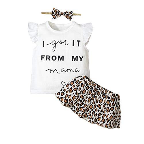 Yissone Bebé Niña Pequeña Camisa con Volantes Falda de Leopardo Bowknot Diadema Ropa Trajes