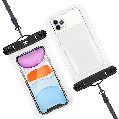 YOSH wasserdichte Handyhülle Schwimmend 2020 Neues Modell Hergestellt aus Weichem TPU-Material Unterwasser Handytasche 7,5 Zoll fürs iPhone 11 Pro Max XS Max XR Samsung A50 S9 S8 Huawei (2 Stücke)
