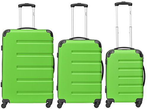 Packenger Kofferset - Marina - 3-teilig (M, L & XL), Grün, 4 Rollen, Koffer mit Zahlenschloss, Hartschalenkoffer (ABS) robuster Trolley Reisekoffer