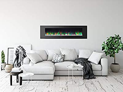 Cambridge CAM72WMEF-1BLK 72 In. Wall-Mount Electric Fireplace in Black with Multi-Color Flames and Crystal Rock Display