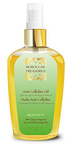 Moroccan Treasures Huile Anticellulite - Soin Minceur- Raffermissant, Amincissant 100% Naturelle pour hommes et femmes à l'Huile d'Argan Bio - Pour Corps, Poitrine, Ventre, Fessier et Jambes. 125ml