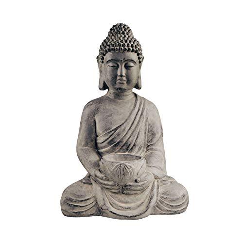 Butlers Buddha Statue sitzend mit Kerzenteller 46 cm
