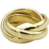 Anello a tre anelli in oro battuto di alta qualità dalla Germania – 10 mm di larghezza (oro giallo 585) – 3 anelli a rullo da donna e uomo