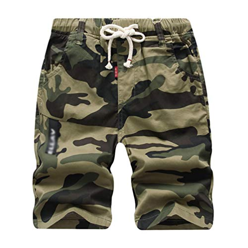 YOUJIAA Camouflage Shorts für Jungen Drawstring Cargoshorts Kinder Jogger Sport Jogginghose Bermuda - Gelb, 140