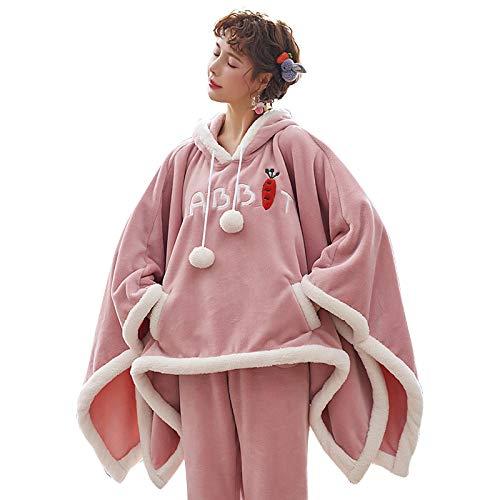 DFDLNL Otoño Invierno Franela Mujeres Conjuntos de Pijamas Pijamas de Capa Cuello con Capucha Ropa para el hogar Grueso Cálido Coral Terciopelo Ropa de Dormir Femenina L.