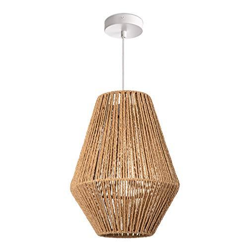 Paco Home Hängelampe LED Pendellampe E27, Rattan Optik Boho Korb Wohnzimmer Esszimmer Flur, Lampenschirm:Natur (Ø30 cm), Lampentyp:Pendelleuchte Weiß
