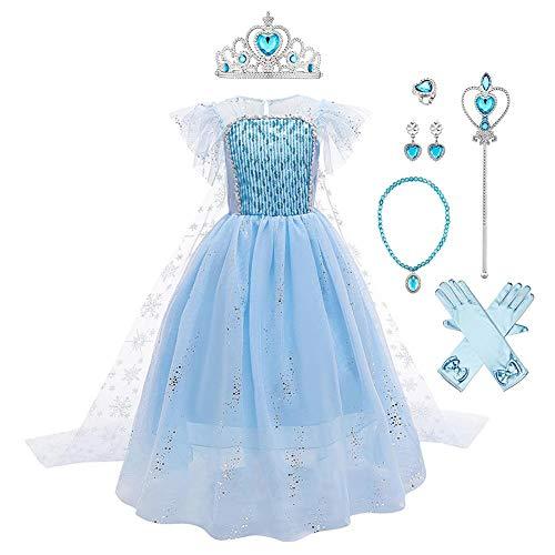 Mädchen Prinzessin Elsa Kostüme Eiskönigin Schneeflocke Tüll Kleid mit Umhang Zubehör Kinder Schneekönigin Eisprinzessin Verkleidung Halloween Cosplay Party Karneval Weihnachten Geburtstag Blau 5-6J