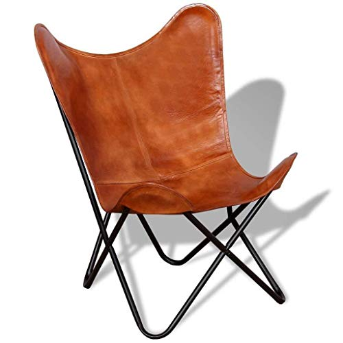 SR Leather Living Room Chairs-Butterfly Chair Brown Leather Butterfly Chair-Handmade with Powder Coated Folding Iron Frame (Cover with Folding Frame)
