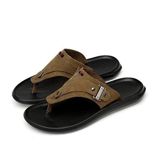Lpinvin - Chanclas para hombre, estilo casual, para verano, cómodas, transpirables, cómodas, cómodas, color caqui, tamaño: 44