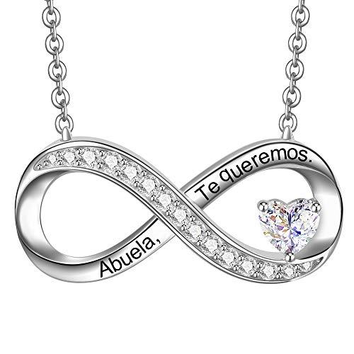 ENGSWA Collar Mujer Plata de Ley 925 Colgante Infinito con Corazón Grabado Te Amo Regalo para Abuela