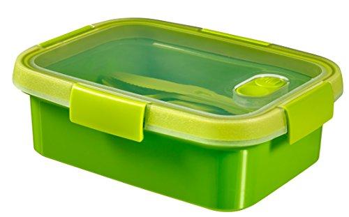 CURVER | Smart To Go nomade rectangulaire 1L avec couverts, Vert, 20,3 x 15,4 x 7 cm, Plastique