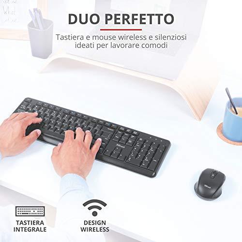Trust Ymo Set Tastiera e Mouse Wireless, Layout Italiano QWERTY, per PC/Laptop/Notebook, Mac/Windows, Tasti Silenziosi, Senza Fili, 13 Tasti Funzione, Unico Ricevitore USB, Ergonomico, Nero