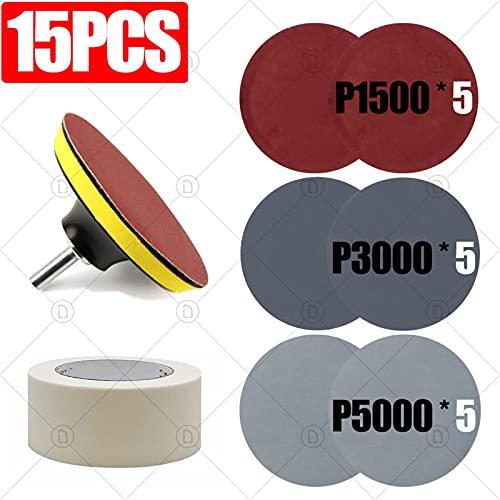 FANBB 3 Pulgadas de 75mm de Lija 15pcs de la Rueda Disco de Lijado for el Metal Auto de Coches de Madera Restauración de Lijado Kit de Pulido P800 P1200 P2000 P5000 Durable (Color : Red)