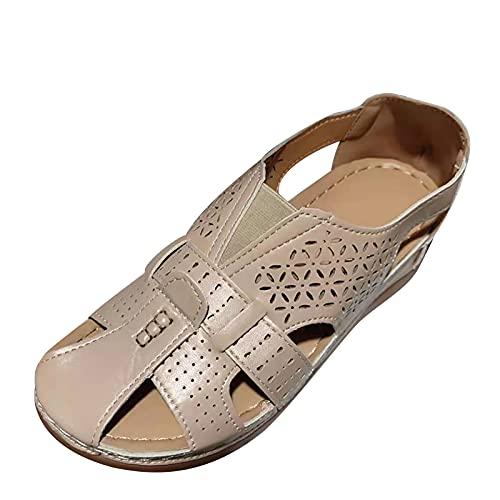 Sandales Creuses à Bout fermé pour Femmes Cuir PU Souple Vintage Summer Casual Chaussures de Plage antidérapantes Sandales Chaussures Plates Vintage en Daim à Bout Ouvert, Sandale Large